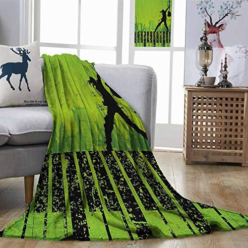 (Zmstroy Living Room/Bedroom Warm Blanket Popstar Party Music in The City Theme Singer with Electric Guitar on Grunge Backdrop Lime Green Black Print Summer Quilt Comforter W57)
