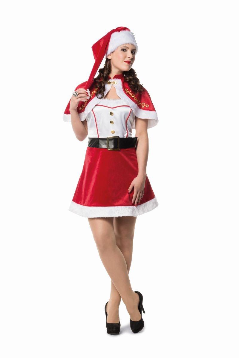 Damen Kostüm Weihnachtsfrau Kleid Umhang Karneval Weihnachten Gr.38