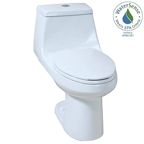 Brilliant 1 Piece High Efficiency Dual Flush Elongated Toilet In White Beatyapartments Chair Design Images Beatyapartmentscom