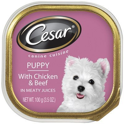 Cesar Puppy With Chicken & Beef in Meaty Juices (6-INDIVIDUAL TRAY`S) (3.5 OZ EACH)