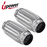 Upower 2 Pack of 1.75 Inch Diameter Exhaust Flex Extension Pipe Connector Tube, 6''OAL Heavy Duty Stainless Steel