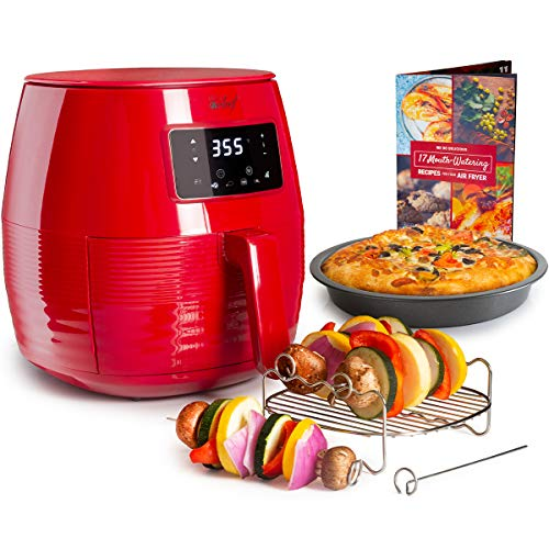 Deco Chef Digital 5.8 QT Electric Air Fryer with Accessories and Cookbook- Air Frying, Roasting, Baking, Crisping, and Reheating for Healthier and Faster Cooking (Red)
