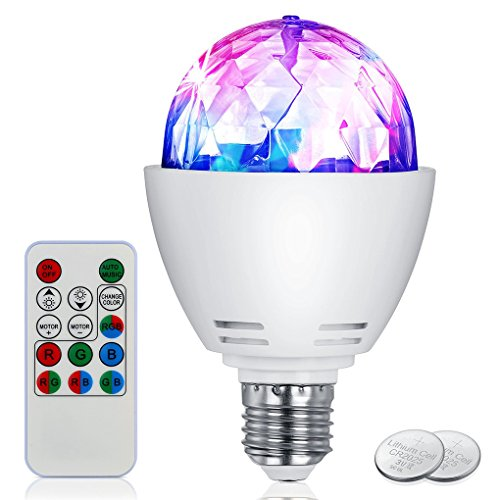 TopFire Disco Light Bulb LED Party Bulb 3W E27 Rotating Stage Strobe DJ Dance with Remote Control for Bar Karaoke Club (White-Colorful led light bulbs)