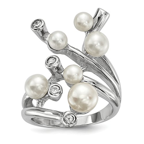 ICE CARATS 925 Sterling Silver Rh 4 7mm Wt Button Freshwater Cultured Pearl Cubic Zirconia Cz Band Ring Size 7.00 Fine Jewelry Gift Set For Women Heart by ICE CARATS (Image #1)