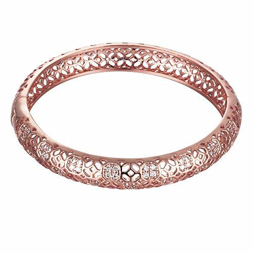 Hanfeier 18K Rose Gold Plated Filigree Pattern Bangle Bracelets for Women