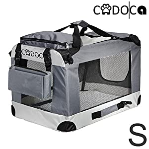 CADOCA® Soft-Sided Pet Carrier for Dogs Cats & Small Animals | Folding Water-repellent Washable Lightweight Steel Frame Incl. Blanket & Bags | S-XXL 15