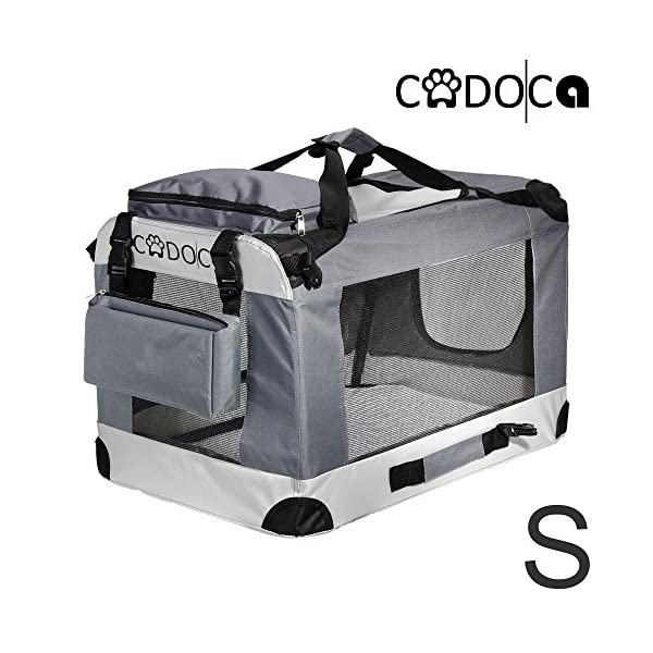 CADOCA® Soft-Sided Pet Carrier for Dogs Cats & Small Animals | Folding Water-repellent Washable Lightweight Steel Frame Incl. Blanket & Bags | S-XXL 1