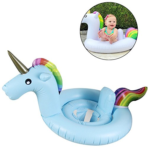 Inflatable Unicorn Pool Float Safety Swimming Pool Inflatable Toy for Adults and Kids with Rapid Valves (Blue) by Kaliste