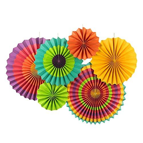 SUNBEAUTY 6 confezioni ventagli di carta colorata 21 cm 31 cm 42 cm decorazione di celebrazione del matrimonio festa di compleanno