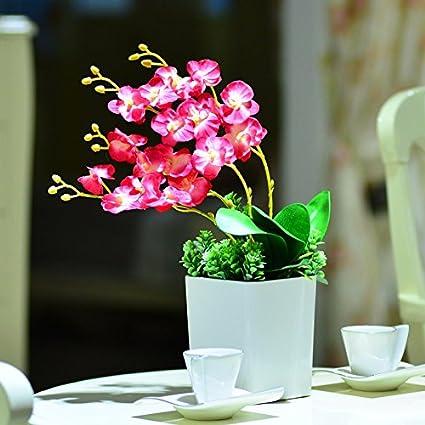 Amazon lvlidan flora artificial flowers home accessories in lvlidan flora artificial flowers home accessories in pots silk phalaenopsis arrangement ceramic vase pink mightylinksfo