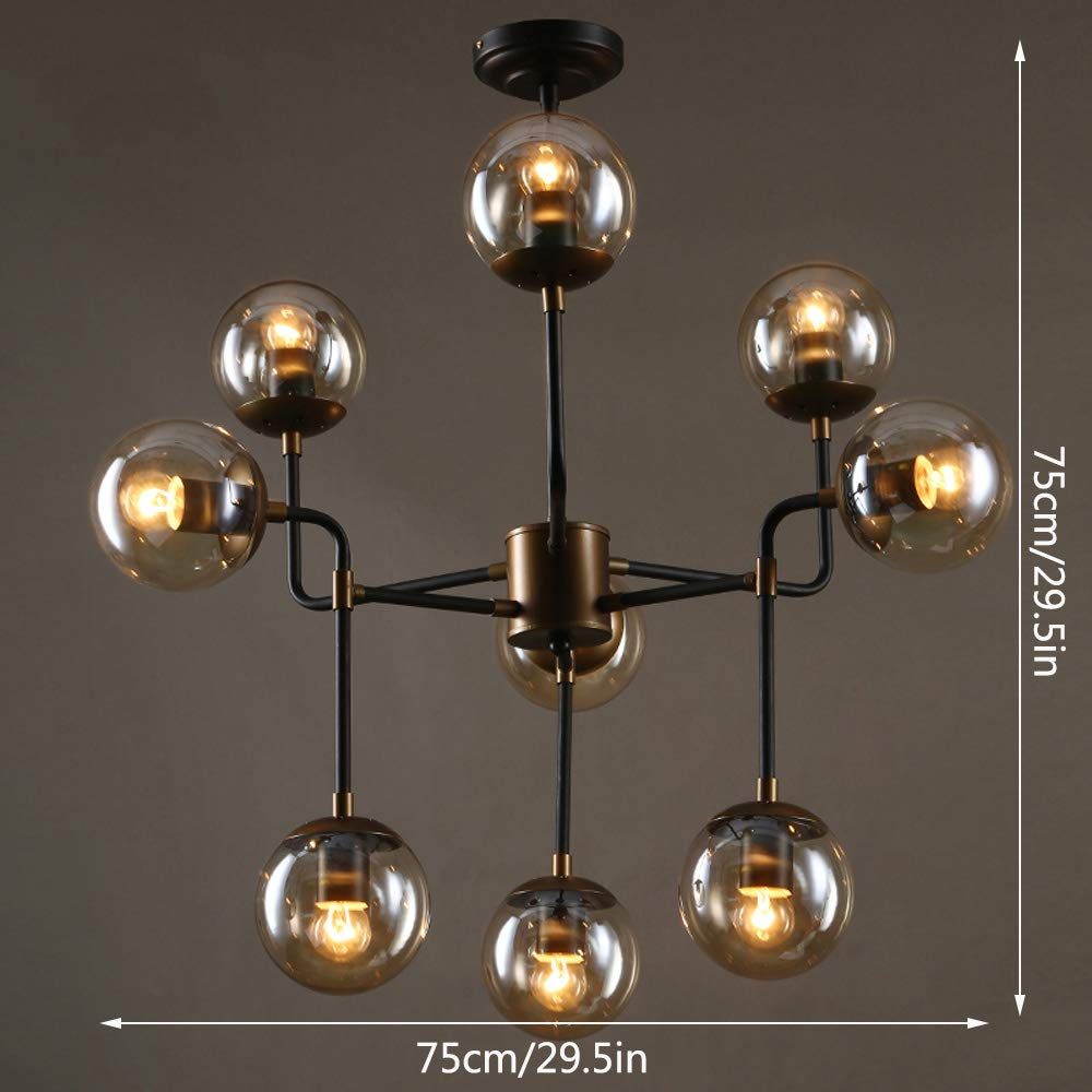 Amazon.com: Nordic Multi-head Iron Chandeliers, LED Retro ...