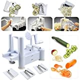 Spiral Vegetable Slicer Spiralizer Veggie Chopper Mandolin Cutter Shred Kitchen Tools 3 Stainless Steel Blades