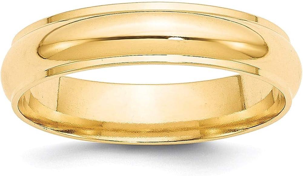 Lex /& Lu 14k Yellow Gold 5mm Half Round w//Edge Band Ring