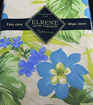 Flannel Backed Vinyl Tablecloths By Elrene  Tropical Blue Flowers Assorted  Sizes   Square,Oblong