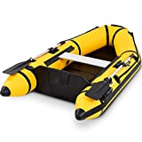 Goplus 2 or 4-Person Inflatable Dinghy Boat Fishing Tender Raft Deep Bottom and Trolling Motor Transom (Yellow 2-Person 7.5FT)