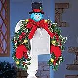 Lighted Snowman Mailbox Evergreen Swag