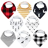 Baby : Bandana Baby Bibs for Boys and Girls by KiddyStar, Unisex 8-Pack 100% Organic Cotton Bib Set (Plaid), Cute Newborn and Cool Baby Shower Gift for Teething and Drooling, Soft and Absorbent
