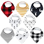 Bandana Baby Bibs for Boys and Girls by KiddyStar, Unisex 8-Pack Organic Cotton Bib Set (Plaid), Cute Newborn and Cool Baby Shower Gift for Teething and Drooling, Soft and Absorbent