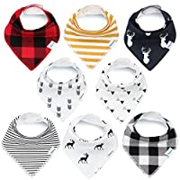 Bandana Baby Bibs for Boys and Girls by KiddyStar, Unisex 8-Pack 100% Organic...