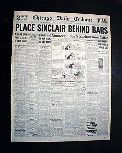 HARRY FORD SINCLAIR Oil Founder Teapot Dome Scandal IMPRISONED 1929 Newspaper CHICAGO DAILY TRIBUNE, May 7, 1929