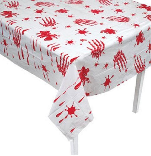 Momentum Bloody Handprint Plastic Table Cloth Scary Halloween Party Decoration-54 x 108