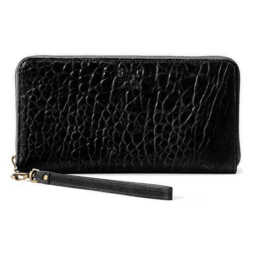 72e96f427e5 Will Leather Goods Black Italian Lambskin Imogen Checkbook Clutch ...