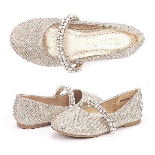 Dream Pairs Little Kid Serena-100-Gold Glitter Girl's Mary Jane Ballerina Flat Shoes - 13 M US Little - Serena Gold