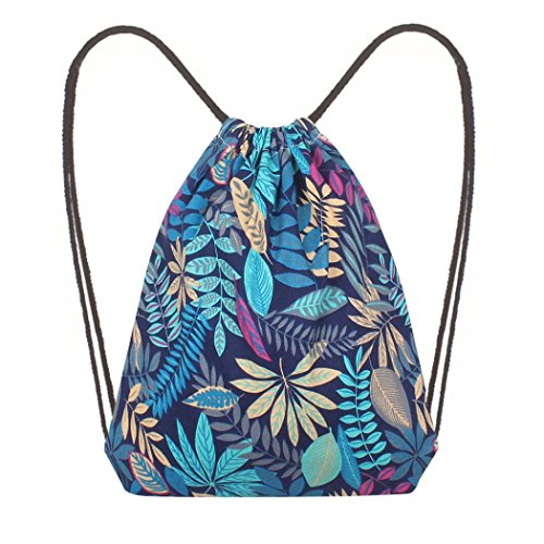 Janly Shoulder Printing Leaf Blue Bags Blue Drawstring Bags Bag Bucket Reusable Shopping Bag rrdpT6qn