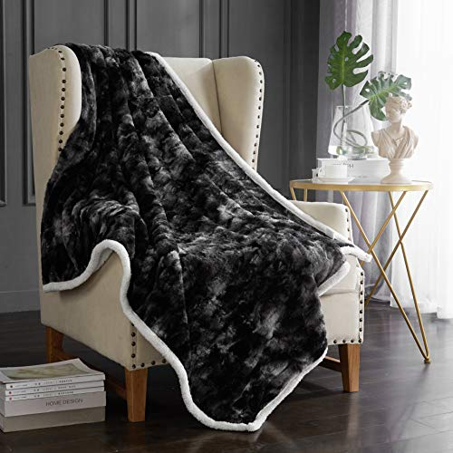 Hyprest Luxury Sherpa Fleece Throw Blanket for Couch Sofa | Super Soft, Cozy, Plush Microfiber Throw for Chair | Reversible Warm Fleece Solid Blanket, Ombre Chacoal (50 x 60 Inches)