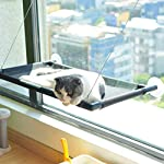 Pakeway Cat Window Perch Hammock Cat Bed with Upgraded Version 4 Suction Cups, Safest Cat Bed for Large Cat can Holds Up to 50lbs (Black) 13