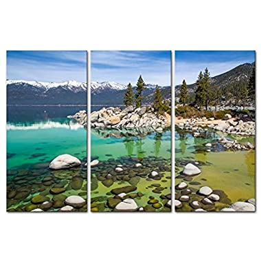 Canvas Print Wall Art Painting For Home Decor,Sandy Lake Tahoe Beach With Crystal Clear Turquoise Water And Some Kayakers Rocky Shore In Nevada California United States.Cloud Snow With Sierra Nevada Mountains Rocks Trees In Northwest Twilight 3 Piece Panel Paintings Modern Giclee Stretched And Framed Artwork The Picture For Living Room Decoration,Landscape Pictures Photo Prints On Canvas