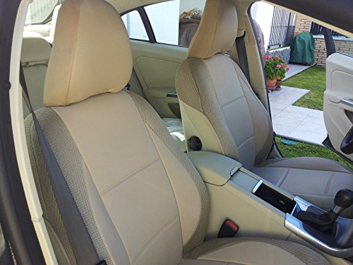 Volvo C70 Convertible - Mix Leatherette and Synthetic Custom Fit TWO Front Car Seat Covers (Fits Volvo C70 1997-2005, TAN (BEIGE))