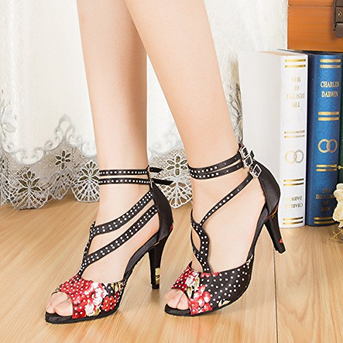 Women's Minishion US Crystals Sandals M Ballroom Salsa Satin Floral Dance 10 Black L195 Latin 5BBxqZaFw