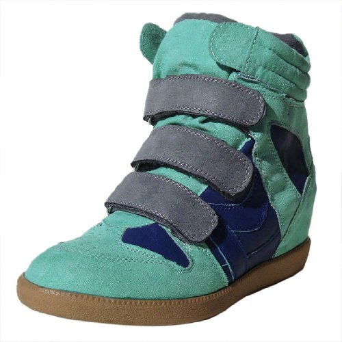 Qupid Women's Patrol01 Mint Faux Suede Velcro High Top Wedge Sneaker 6.0 M US