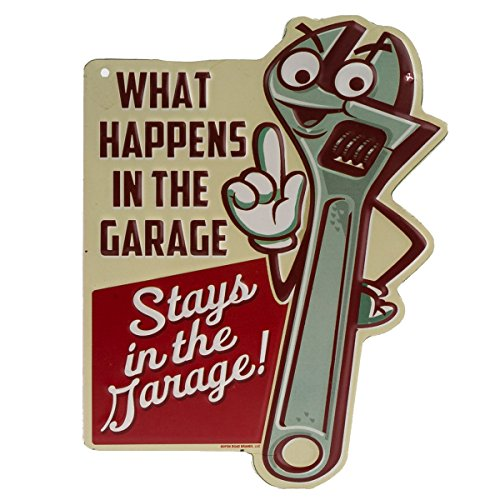 Open Road Brands What Happens in The Garage Embossed Tin Sign