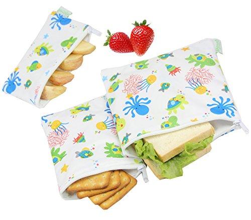 Wegreeco Reusable Sandwich & Snack Bags - Set of 3 - (Undersea)