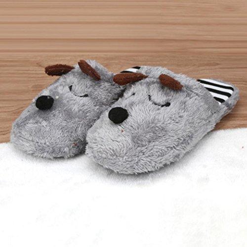 Men Slip TM Plush House Elevin Soft Women Home Warm Cotton Gray Anti Couple Shoes Indoor Slippers a4OwSq