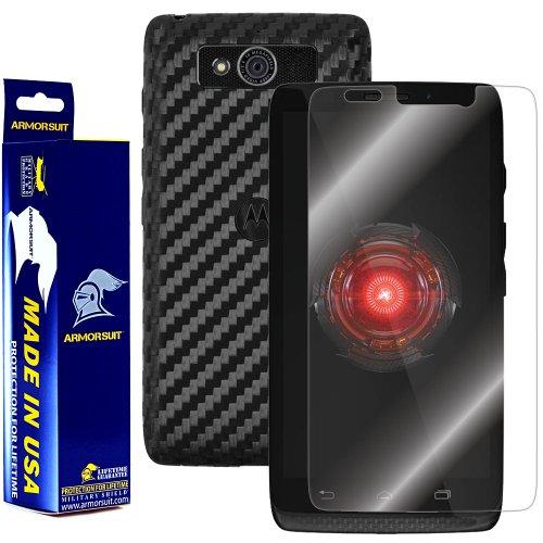 Armorsuit MilitaryShield Black Carbon Fiber Skin Wrap Film + HD Clear Screen Protector for Motorola Droid Mini - Anti-Bubble Film