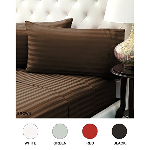 Color Sense Wrinkle Free Egyptian 310 Thread Count Satin Stripe Sheet Set, Full, Brown