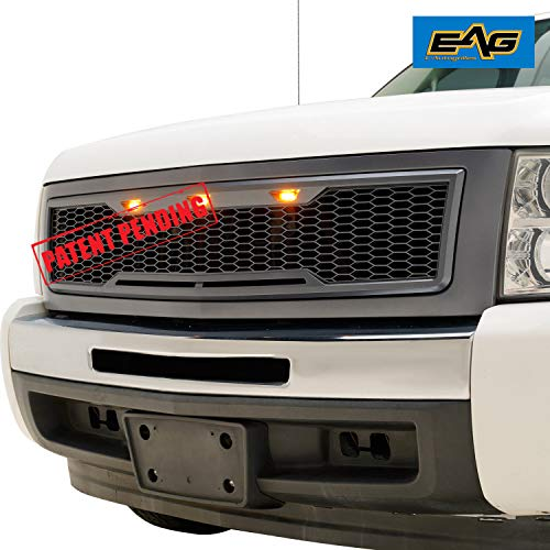 (EAG Replacement Upper ABS Grille LED Grill with Amber LED Lights - Charcoal Gray Fit for 07-13 Chevy Silverado)