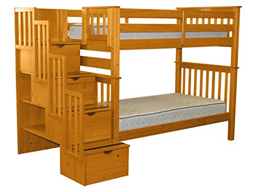 Bedz King Tall Stairway Bunk Bed Twin over Twin with 4 Drawers in the Steps, Honey