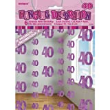 6 Happy 40th Birthday Pink Sparkle Prismatic 5ft String Party Decorations