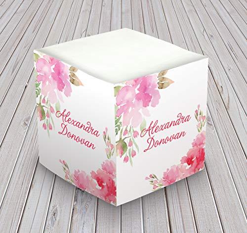 (Personalized Self Stick Memo Cube - Floral Watercolor Design - 2807_50)