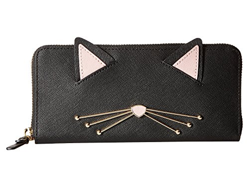 Kate Spade New York Women's Cat's Meow Lindsey Cat Wallet, Black Multi, One Size (Kate Spade Black Cat)
