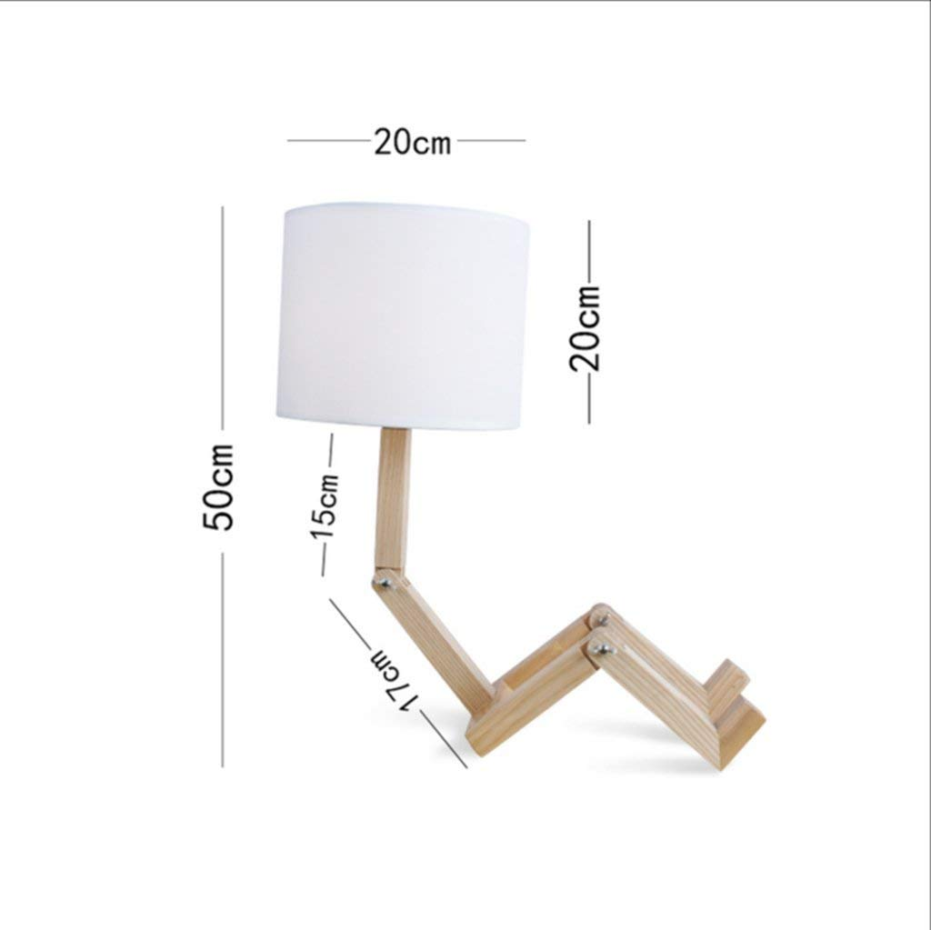 Table Lamp, Solid Wood Desk Bedroom Bedside Lamp Simple Modern Dimmable Marry Wood Color Energy Saving and Environmental Protection Modern, ChuanHan