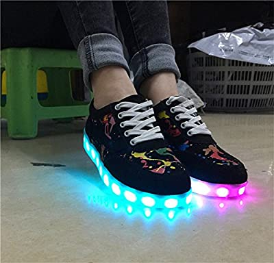 Bininbox Lovers Unisex Graffiti USB Charging LED Flashing Casual Walking Sneaker