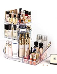 SUNFICON Makeup Organizer Cosmetic Display Case 360 Degree Rotating Makeup Storage Units Large Capacity Cosmetic Holder Stand Adjustable Trays Fit All Size Beauty Skincare Items Washable Acrylic Clear