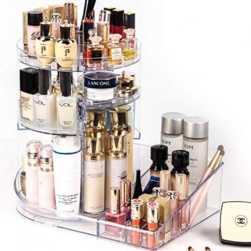 SUNFICON 360° Rotating Makeup Organizer 2 in 1 Cosmetic Display Case Makeup Storage Unit Large Capacity Cosmetic Holder Stand Box Adjustable Tray Fit All Size Beauty Skincare Items Acrylic Clear from SUNFICON