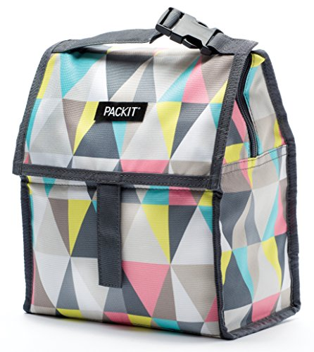 PackIt Freezable Lunch Bag with Zip Closure, Pastel (Closure Holds)