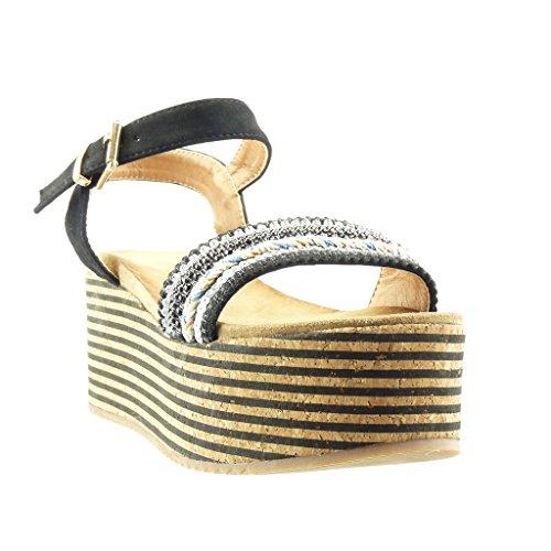 Angkorly - Chaussure Mode Sandale Mule plateforme femme liège lignes bijoux Talon compensé plateforme 7 CM - Noir